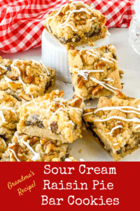 My Grandma's Sour Cream Raisin Pie - turned into Shortbread-crusted and topped Bar Cookies! So easy, so delish!