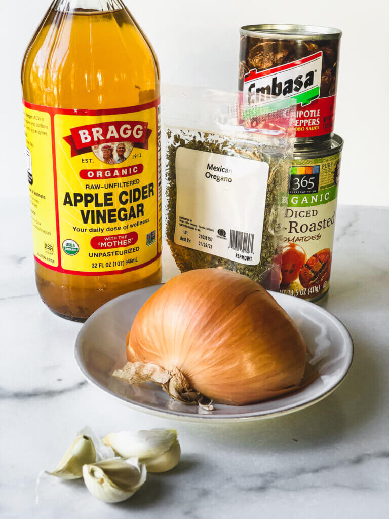 Ingredients for Pollo de Tinga