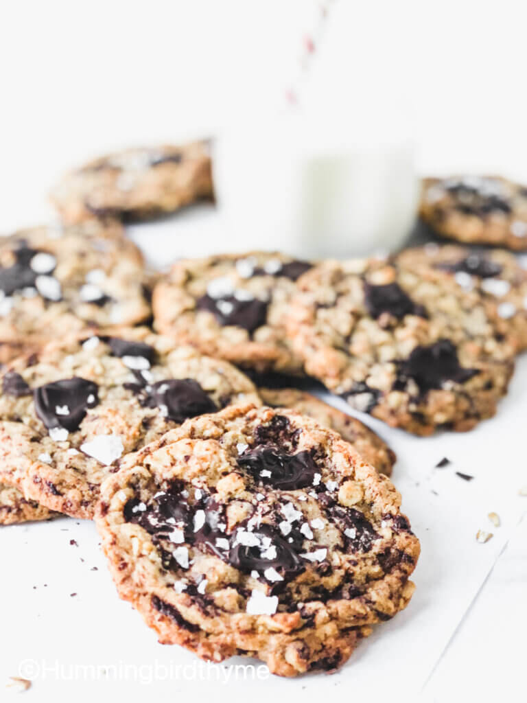 Sea Salt Chocolate Oatmeal Cookies are oaty and chocolatey with a butterscotch flavor thanks to the browned butter and brown sugar dough.