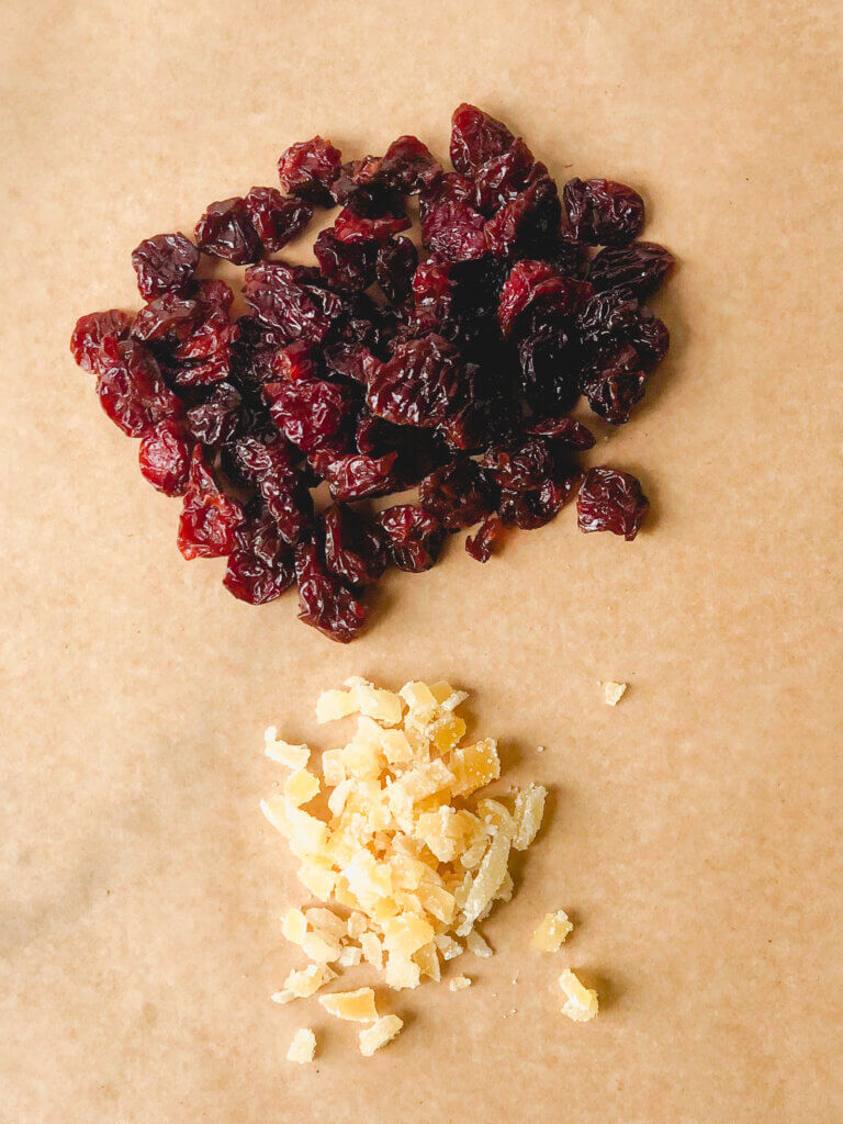 I included dried fruits in my Adventure bread: dried cherries and chopped crystallized ginger