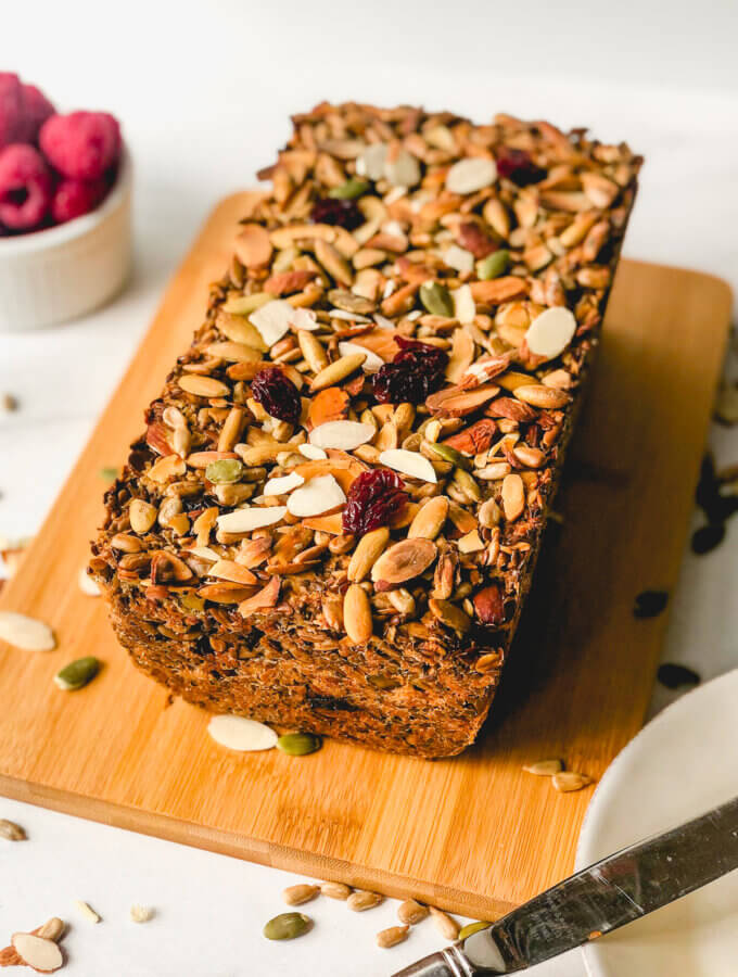 Vegan, GF, no-knead, Adventure Bread is filled with nuts and oats - so healthy so delicious and you won't believe how easy to make!