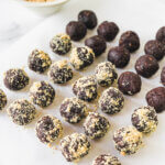 Chocolate Peanut Butter Protein balls, with just 5 ingredients, are so easy to make and completely satisfying - a perfect healthy snack!