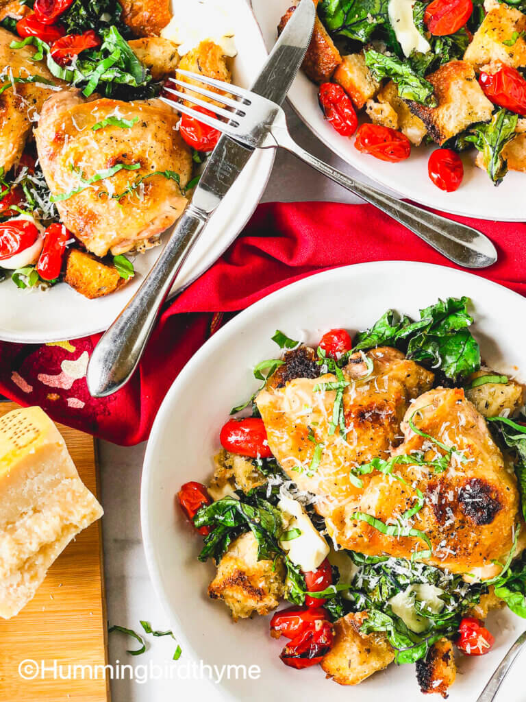Sheet Pan Panzanella with Chicken and Kale - juicy and crispy chicken atop garlicky croutons, juicy tomatoes, tender kale and gooey mozzarella - this is the Salad of the Season! So easy!