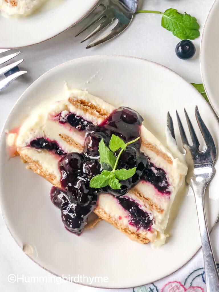 easy no churn Ice cream cake blueberry lemon
