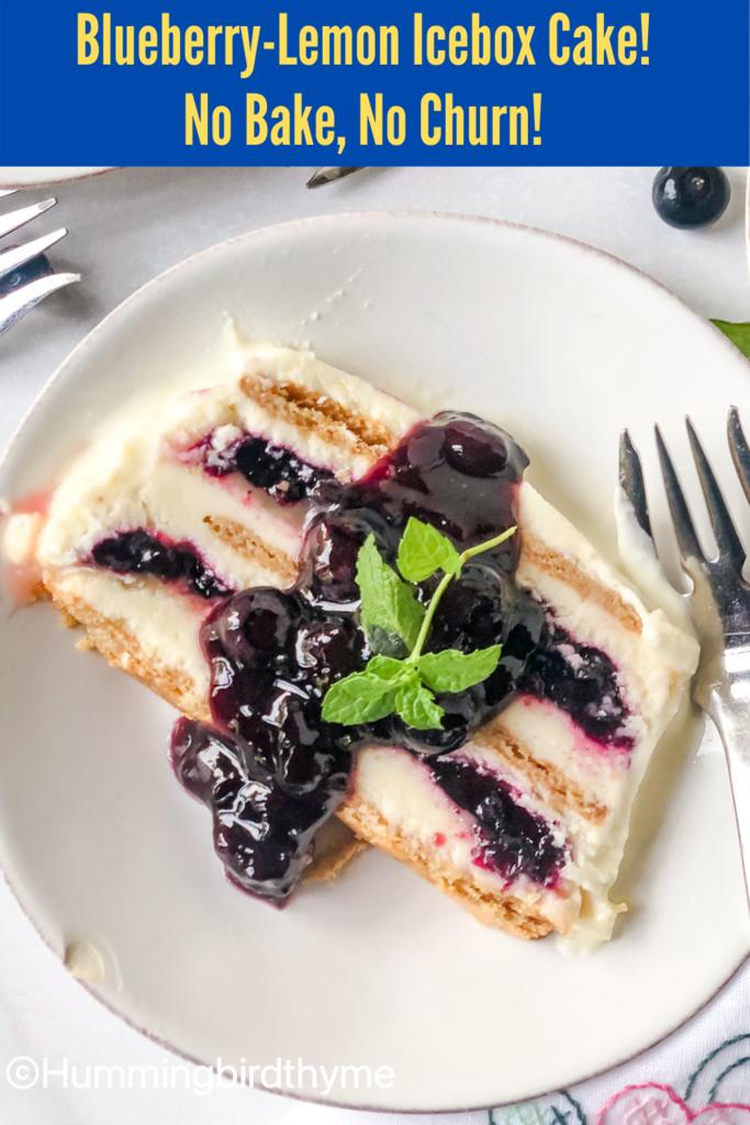 Pinterest Pin Lemon Blueberry Icebox Cake