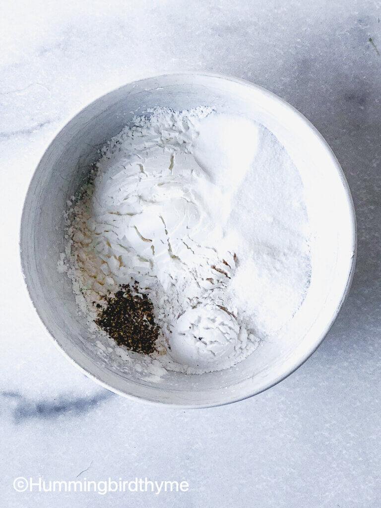 Process shot showing dry ingredients