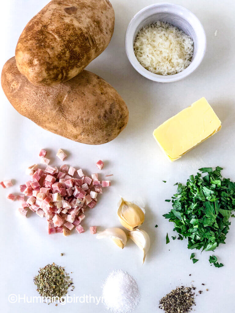 Ingredients for Crispy Roasted cheesy potatoes