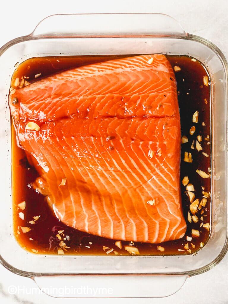 Process shot how to marinate salmon
